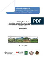 Agricultural extension in areas currently affected by conflict, with an emphasis on Mindanao, Philippines