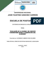 Evaluacion de La Calidad Del Docente Universitario Desde La Perspectiva Del Alumnado