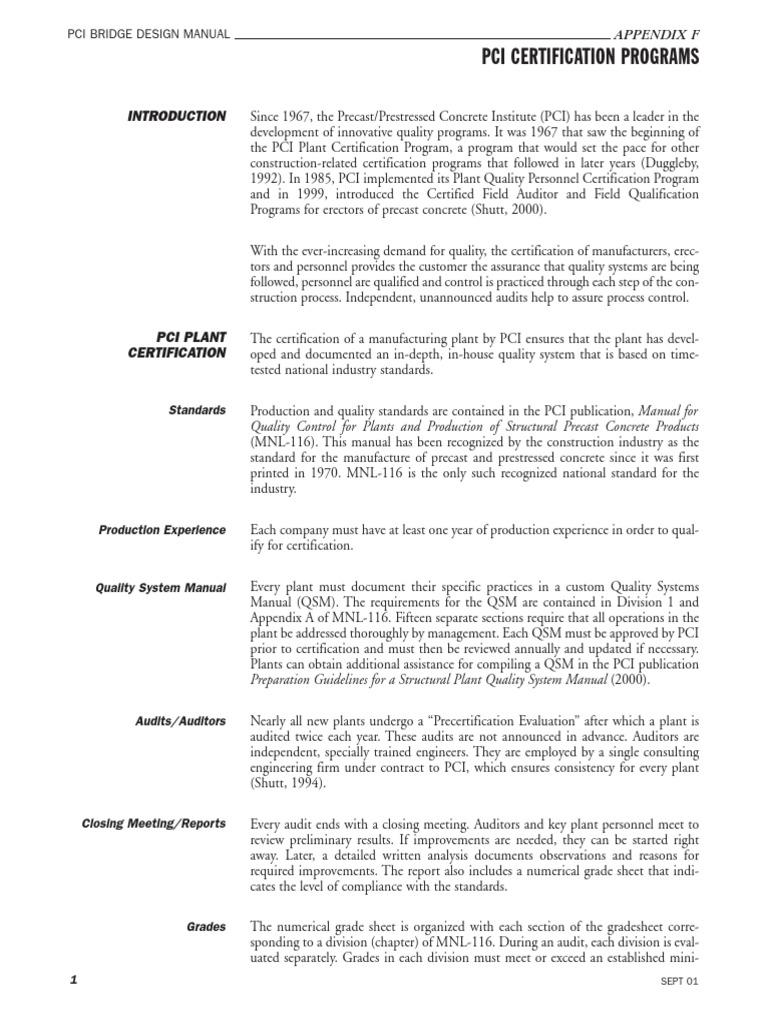 Appendix F Pci Certification Prestressed Concrete Audit