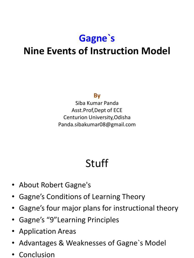 Final Gagnes 9 Events Of Instructionpdf Recall Memory