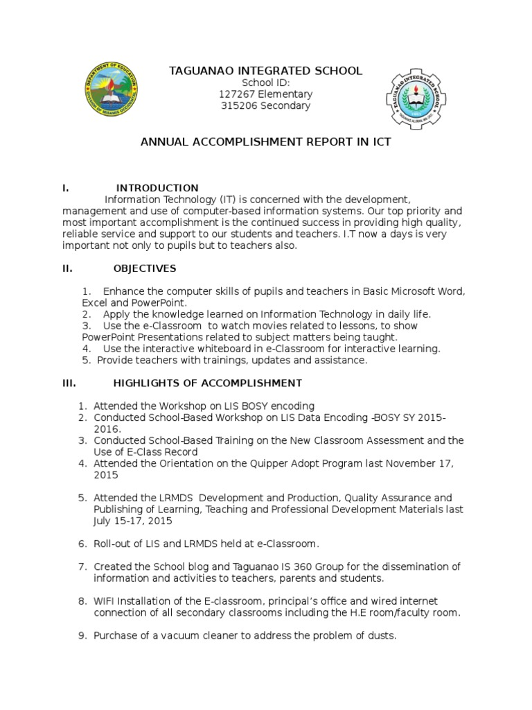 Accomplishment Report Ict | Educational Technology | Teaching  Accomplishment Report Format