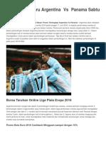 11 Juni ArgenPrediksi Terbaru Argentina Vs Panama Sabtu 11 Juni 2016tina vs Panama