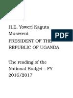 President Museveni Speech at Reading Uganda Budget June 8 2016