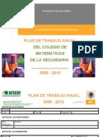 PLAN DE TRABAJO ANUAL DE MATEMÁTICASS vespertino 2009-2010