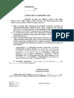 Secretary Certificate and SPA Wilbert Alven Ko Case