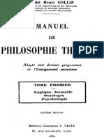 Collin, Henri - Manuel de Philosophie Thomiste (1930 ) - Tome 1enri - Manuel de Philosophie Thomiste (1930 ) - Tome 1