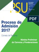 Nómina Preliminar Carreras Proceso de Admisión 2017