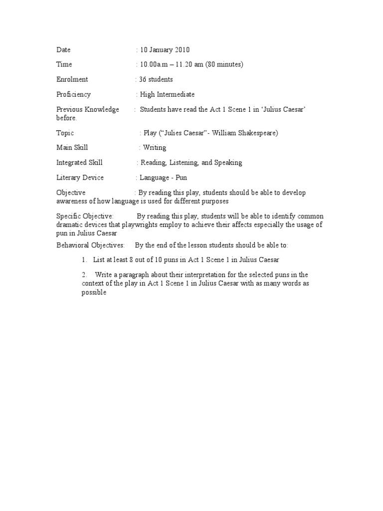 Lesson Plan-Teaching Pun(Julius Caesar) | Lesson Plan | Speech
