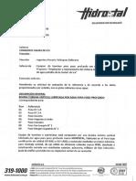 ESPECIFICACIONES TECNICAS HIDROSTAL