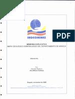 Memoria Explicativa. Mapa Geologico Del Departamento de Arauca. 2000