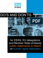 Do's and Don'ts best practice guide for EEAS, EU Delegations and Member State embassy public statements or letters on Human Rights Defenders