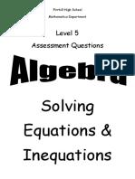 n5 algebra solving equations inequations ppqs