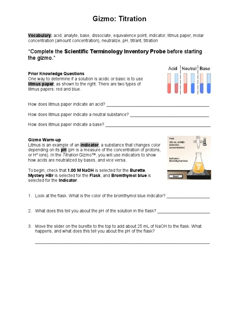 titration gizmo answer key gizmo titration worksheet | Titration | Ph