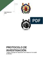 Protocolo de investigación en relación a los residuos