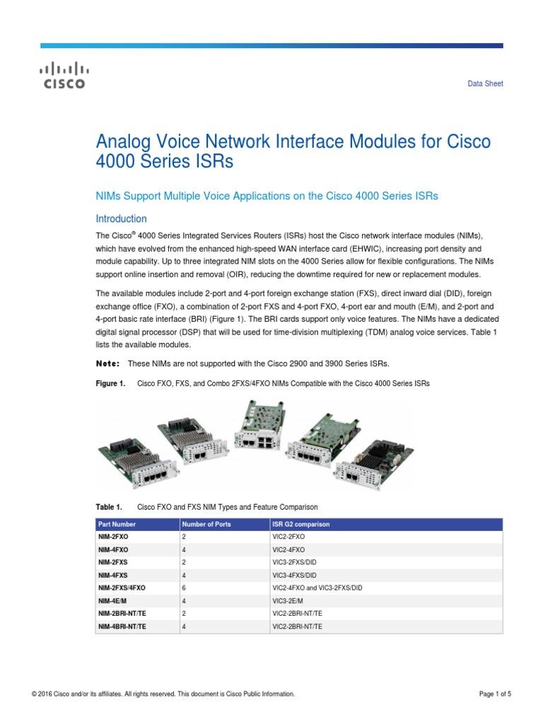 Enterprise Networking, Servers TESTED FXO CISCO NIM-4FXO 4-port ...