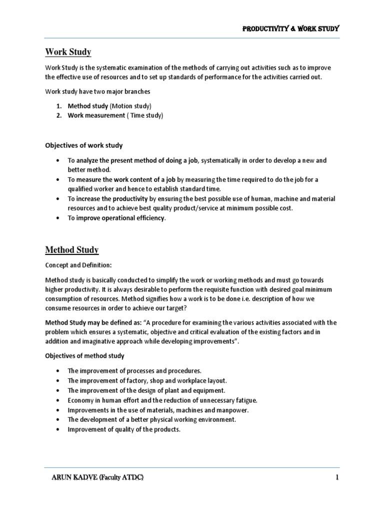Define motion study - Work Study Pdf Business Process Employment