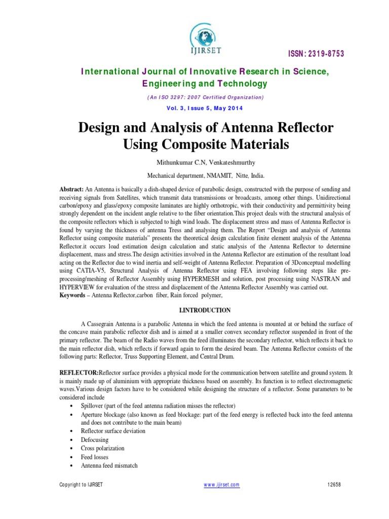 Design and Analysis of parabolic reflector antenna   Antenna (Radio