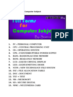 All Full Forms for Computer Subject pdf | Domain Name | World Wide Web