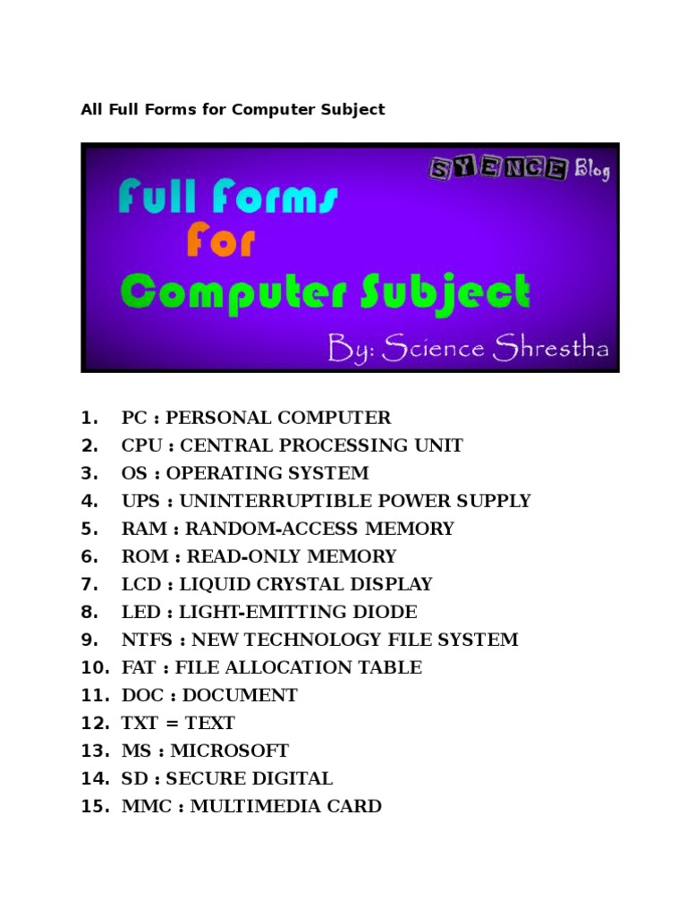 All Full Forms for Computer Subject pdf   Domain Name