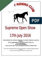 RRC Open Show Schedule 2016