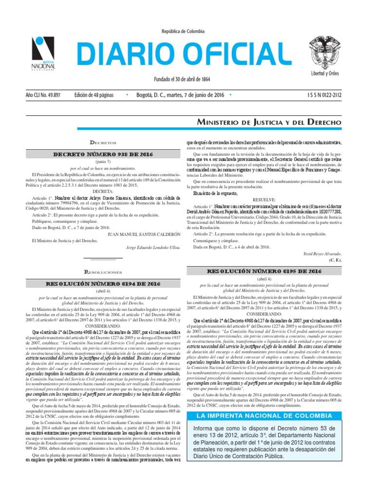 Diario oficial de Colombia n° 49.897. 07 de junio de 2016
