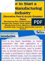 How to Start a Paint Manufacturing Industry (Decorative Paint & Acrylic Emulsion Paint)  Manufacturing Plant, Detailed Project Report, Profile, Business Plan, Industry Trends, Market Research, Survey, Manufacturing Process, Machinery, Raw Materials, Feasibility study, Investment Opportunities, Cost and Revenue