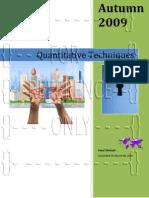 Quantitative Techniques - Assignment No. 1