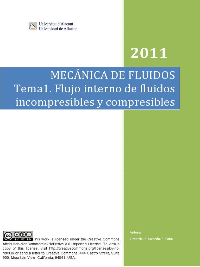 Resultado de imagen de Martín, I ; Salcedo, R. ; Font, R. Mecánica de fluidos: flujo interno de fluidos incompresibles y compresibles