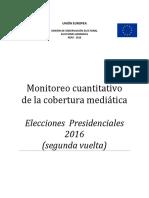 Monitoreo cuantitativo de la cobertura mediática - Segunda elección presidencial Perú 2016