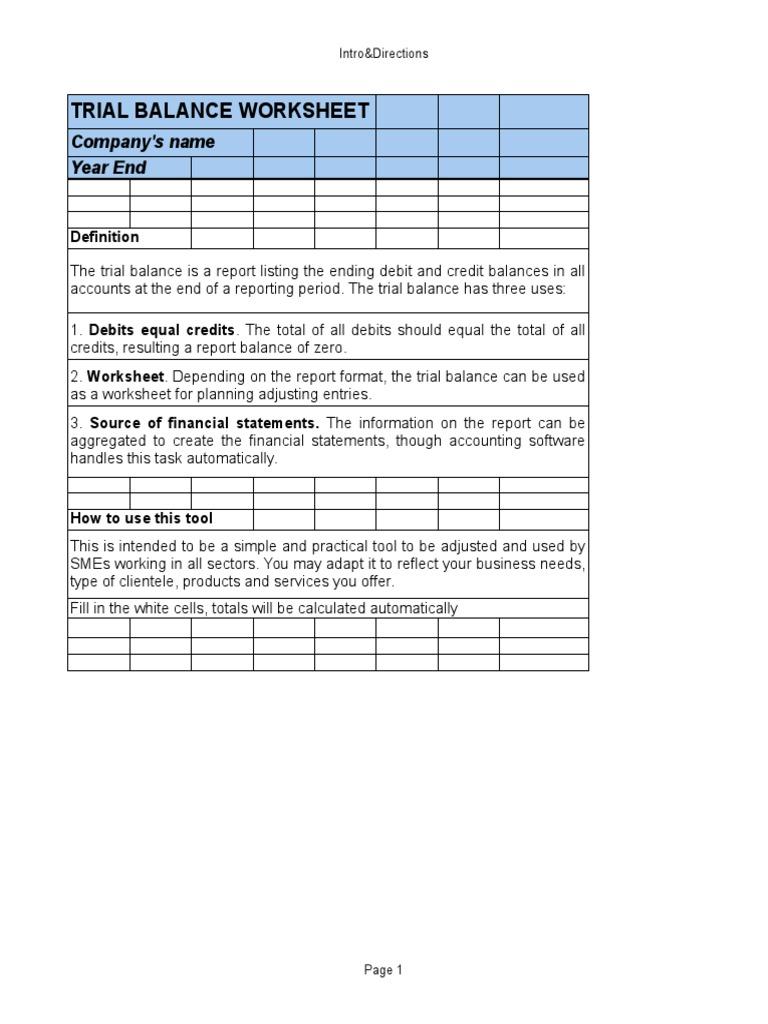 trail balance work sheet debits and credits expense