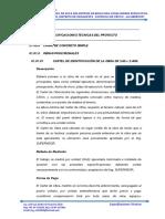 ESPECIFICACIONES TÉCNICAS DE UN CANAL DE CONCRETO APARA RIEGO