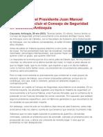 Ene.30.2012 - Declaración del Presidente Juan Manuel Santos al concluir el Consejo de Seguridad en Caucasia, Antioquia
