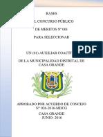 Bases Convocatoria Auxiliar Coactivo Municipalidad Distrital de Casa Grande