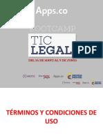 Apps-Términos y Condiciones de Uso. Camilo Escobar Mora