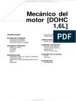 Manual Mecanica Motor Dohc 1 6l Bloque Cilindros Sistemas Refrigeracion Lubricacion Admision Escape Distribucion