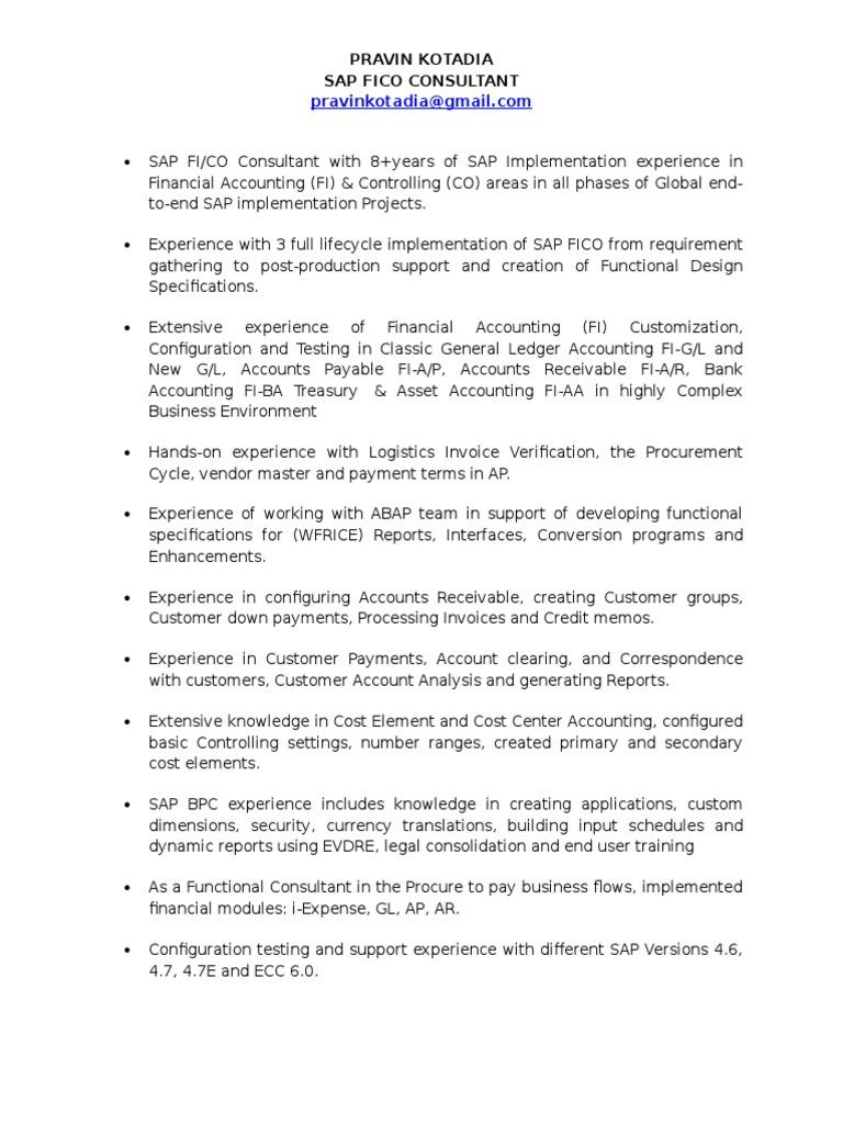Pravin Sap Fico Resume | Business Process | Valuation (Finance)