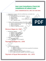 Lucknow Labour Law Consultancy Check List for the Compliance of Labour Laws
