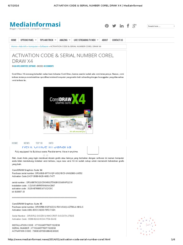 serial number corel draw x4 and activation code