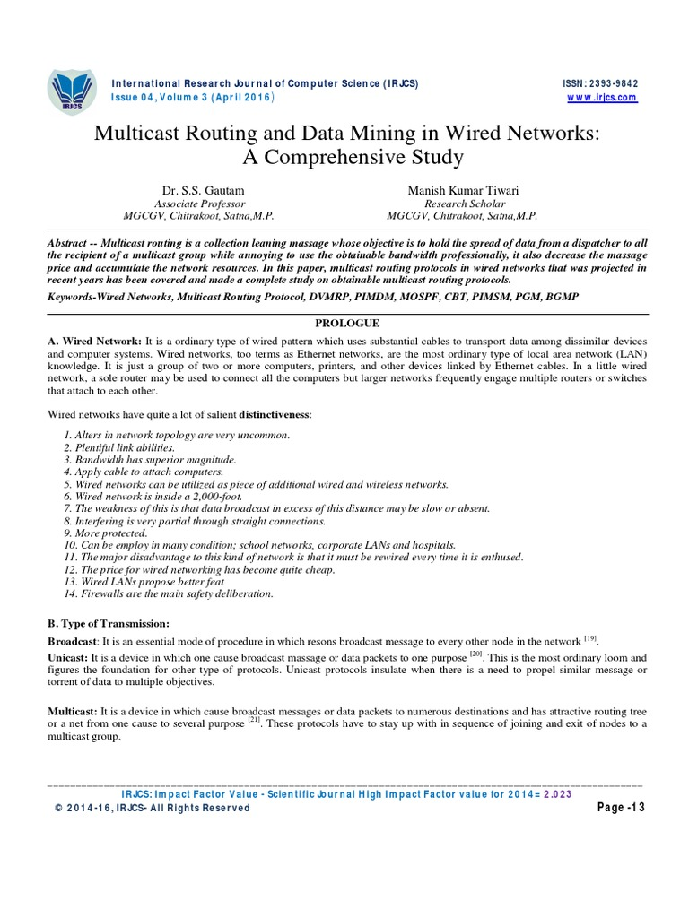 Multicast Routing and Data Mining in Wired Networks: A Comprehensive