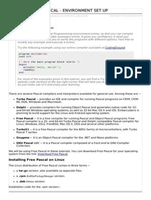 Pascal Environment Setup   Integrated Development