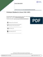 Professor Rosalind H Driver 1941 1997