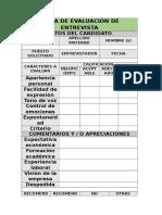 Ficha de Evaluación de Entrevista Inicial