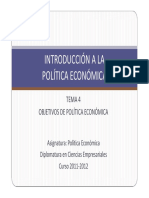 Tema 4 Objetivos de Política Económica