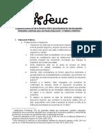 """Propuesta preliminar de la Directiva FEUC de profundización del documento- """"Elementos Centrales para una Nueva Educación"""" o Petitorio CONFECh"""