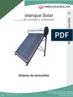 Termotanque Solar HISSUMA Montaje e Instalacion