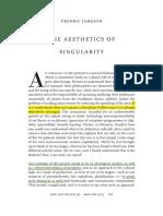 Jameson 2015 the Aesthetics of Singularity