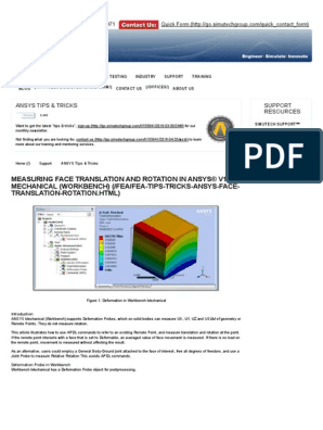 Measuring Face Translation and Rotation in ANSYS® v14