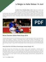 14 Juni Belgia vs ItaPrediksi Terbaru Belgia vs Italia Selasa 14 Juni 2016lia