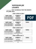 Professor Jee Collegiate Monthly Test Schdule b.com.b.sc