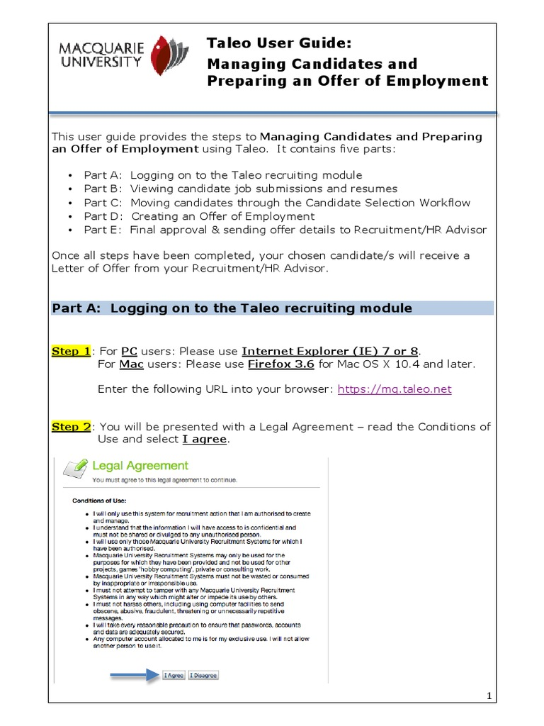 Taleo - managing Candidates and Preparing an Offer of Employment